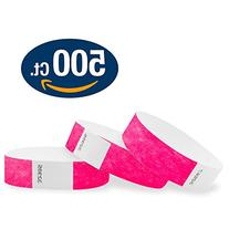 "WristCo Neon Pink 3/4"" Tyvek Wristbands - 500 Pack Paper"