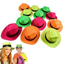 Neon Plastic Gangster Hats - 24 Pack - Dress Up Party Favor