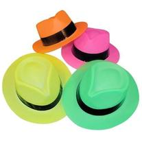 Adorox  Neon Color Plastic Gangster Hats Fedora Party Favors