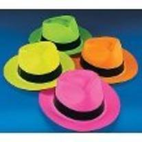 Fun Express Neon Color Plastic Gangster Hats - 12 Piece Pack