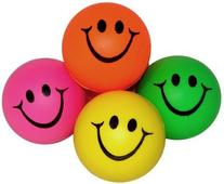 Mini Neon Smile Face Relaxable Balls  Assorted colors