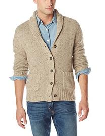 Haggar Men's Nep Shawl Collar Cardigan Sweater, Oatmeal,