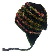 Nepal Hand Knit Sherpa Hat with Ear Flaps, Trapper Ski Heavy