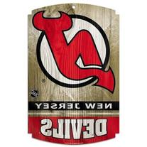 "NHL New Jersey Devils 73177091 Wood Sign, 11"" x 17"", Black"