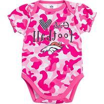 NFL Denver Broncos Girls Camo Bodysuit, 0-3 Months, Pink