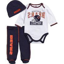 NFL Chicago Bears Long Sleeve Bodysuit, Footed Pant & Cap