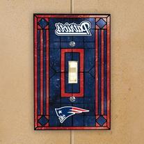 NFL New England Patriots Navy Blue Art-Glass Switch Plate