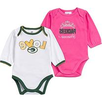 NFL Green Bay Packers Girls Long Sleeve Bodysuit , 0-3
