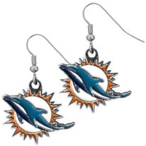 NFL Miami Dolphins Chrome Dangle Earrings