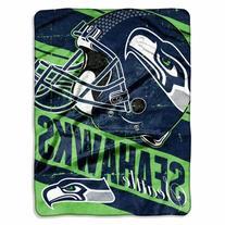 "NFL Seattle Seahawks ""Deep Slant"" Micro-Raschel Throw, Blue"