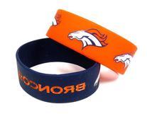 NFL Denver Broncos Silicone Rubber Bracelet, 2-Pack
