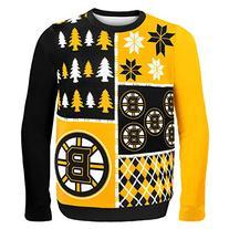KLEW NHL Boston Bruins Busy Block Ugly Sweater, Medium,
