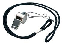 Markwort Nickel Plated Whistle and  Black Lanyard Combo