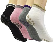 Attmu 4 Pairs Non Slip Skid Yoga Pilates Socks with Grips
