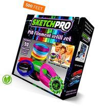 NONTOXIC 3D Pen Filament Refill Kit - 20 Colors - 500 Feet
