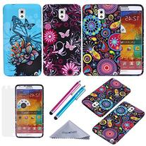 Note 3 Case, Wisdompro 3 Pack Bundle of Color and Graphic