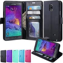 LK Note 4 Case, Galaxy Note 4 Wallet Case, Luxury PU Leather