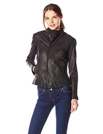 Cole Haan Women's Novelty Leather Jacket - Large - Black