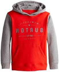 Burton Boys Numeral Pullover Hoodie, Small, FIERY Red
