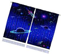 Nursery Curtains by Ambesonne, Outer Space Orbit Rocket