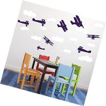 Nursery Wall Decals Airplanes and Clouds Set Playroom Decals