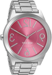 Nine West Women's NW/1585PKSB Hot Pink Dial Silver-Tone