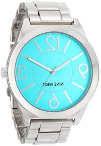 Nine West Women's NW/1585TLSB Turquoise Dial Silver-Tone