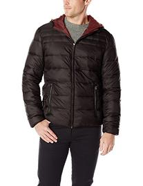 Perry Ellis Men's 27 Inch Nylon Quilted Hooded Zip Front,