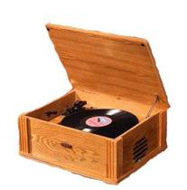 Modern Marketing Oak Wood Veneer Record Player