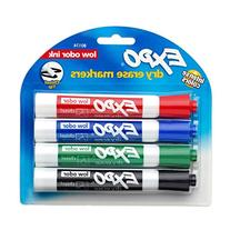EXPO Low-Odor Dry Erase Markers, Chisel Tip, Assorted Colors