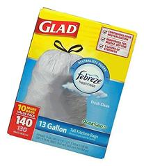 Glad 13 Gallon Odor Shield Tall Kitchen Trash Bags, 140