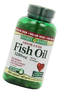 Nature's Bounty Fish Oil 1200 mg Odorless, 200 Coated Soft