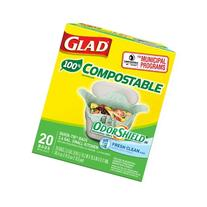 Glad OdorShield 100% Compostable Small Kitchen Quick-Tie Trash Bags, Fresh Clean, 2.6 Gallon, 20 Count