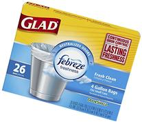 Glad OdorShield Small Trash Bags, Fresh Clean, 4 Gallon, 26
