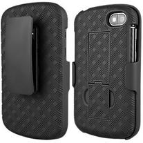 OEM Blackberry Q10 Black Hard Case Shell & Holster Combo