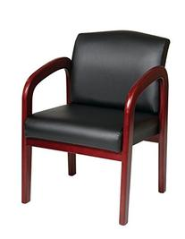 Office Star Visitors Chair with Cherry Finish  Base and Arms
