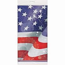 "Old Glory Patriotic Plastic Tablecloth, 84"" x 54"