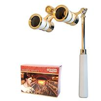 HQRP Opera Glasses White-Pearl with Gold Trim w/ Built-In