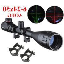 Beileshi 6-24X50mm AOEG Optics Hunting Rifle Scope Red/Green