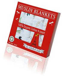 4 PACK!!! Organic Cotton Premium Muslin Blanket by La