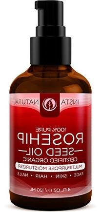 InstaNatural Organic Rosehip Seed Oil - 100% Pure &