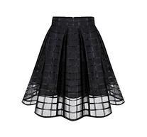 Shawhuaa Womens Organza Sheer A-line Flared Pleated Skater