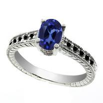 3.38 Ct Oval Blue Created Sapphire Black Diamond 18K White