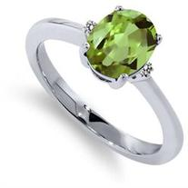 1.13 Ct Oval Green Peridot White Diamond 925 Sterling Silver