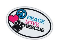 Imagine This Oval Peace Love Rescue Car Magnet, 6-Inch by 4-