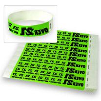 "Over 21 Green - Wristco 3/4"" Tyvek Wristbands - 500 Ct"