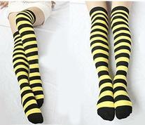Wensltd Over Knee Cotton Striped Thigh High Socks Halloween