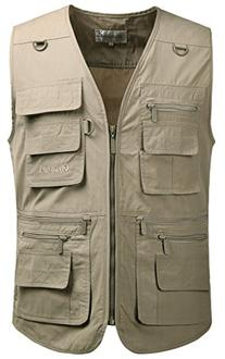 Mrignt Men's Oversize Pockets Travels Sports Vest,Khaki