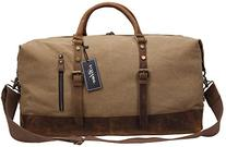 Iblue Overnight Canvas Leather Trim Travel Tote Duffel Gym