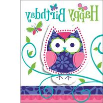 Creative Converting Owl Pal Party Invitations, 8-Count